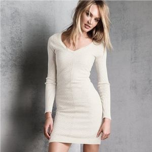 VS Kiss of Cashmere White Ribbed Sweater Dress XL